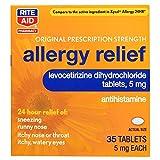 Rite Aid 24 Hour Allergy Relief, Original Prescription Strength, Levocetirizine Dihydrochloride Tablets, 5 mg - 35 Count | Antihistamine