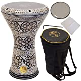 Gawharet El Fan 17' darbuka drum - A great hand drum and percussion instrument for gifting - A Made in Egypt instrument like the djembe drum - Also called the doumbek drum.