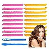 Tingz 20 piezas Magic Hair Curlers Spiral Curls Styling Kit, sin rulos de calor Rodillos y ganchos de peinado para cabello largo La mayoría de los tipos de peinados(18 pulgadas/45 cm)