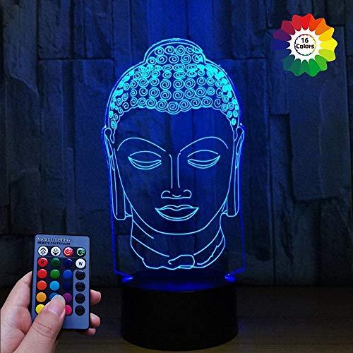 3D Buda ilusión Optica Lámpara Luz Nocturna 7/16 Colores Cambiantes Control Remoto USB de Suministro de Energía Juguetes Decoración Regalo de Cumpleaños Navidad