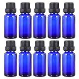 Minkissy 12 Unidades 10Ml Botella de Perfume Recargable Frascos Azules con Orificio Y Tapa de Vidrio Vacío Aceite Esencial Cobalto Tubo Líquido Contenedor Dispensador de Perfume para