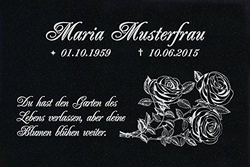 LaserArt24 Granit Grabstein, Grabplatte oder Grabschmuck mit dem Motiv Grabstein-ag31 und Ihrem Text/Daten