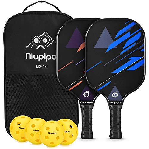 niupipo Pickleball Paddles, USAPA Approved Pickleball Set, Pickleball Paddle Set of 2, 4 Pickleball Balls and 1 Pickleball Bag, Fiberglass Surface, Polypropylene Honeycomb Core, Lightweight Racket