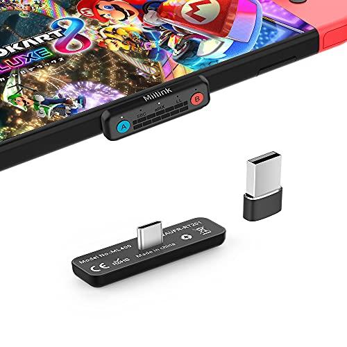 1mii Bluetooth Adapter für Nintendo Switch/Switch Lite PS4 PC, USB-C Bluetooth Audio Transmitter mit aptX niedriger Latenz, kompatibel mit Bluetooth-Kopfhörern, unterstützt Mikrofon-Chat