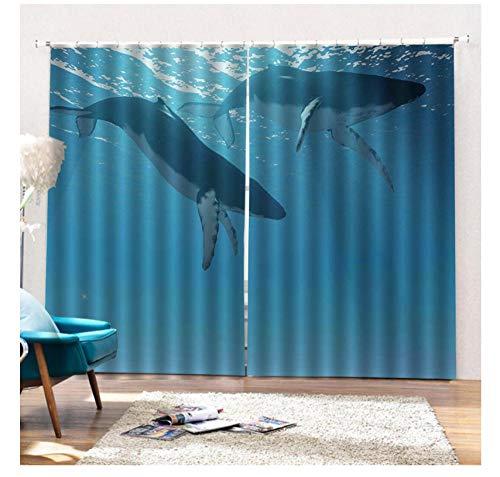 WKJHDFGB Verdunkelungsvorhänge Schlafzimmer 3D Shading Cute Whale Kinderzimmer Badezimmer Verdunkelungsvorhänge 245X340Cm
