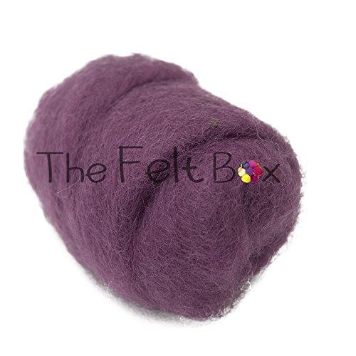 Kardierte Wolle zum Filzen, Nadelfilzen, Wollfaden, Bastelwolle, Einzelton, Gruppe B, 100 g (Amethyst (51))