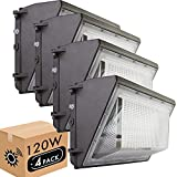 Lightdot 4 Pack 120W LED Wall Pack Lights with Photocell, 13200 LM (700W HPS/HID Equivalent), Daylight 5000K, IP65, Bright Outdoor Commercial and Flood Security Lighting