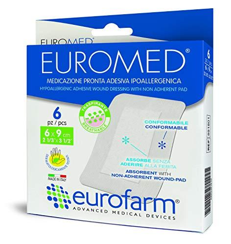 Euromed (cm 6 x cm 9) Apósito Adhesivo en Tejido noTejido, con Compresa No Adherente con Alto Poder de Absorción,Suave y Adaptable. Fabricado en Italia,6 Unidades
