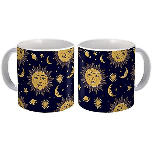 Sun & Moon : Gift Mug Patterned Esoteric Yoga Stars Blue Hippie