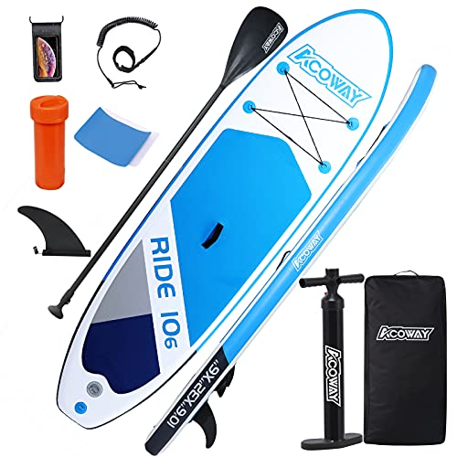 """ACOWAY Inflatable Stand Up Paddle Board, 10'6×32""""×6"""" Paddle Board, SUP Paddleboard Accessories Backpack, Bottom Fin Paddling Surf Control, Non-Slip Deck, Youth & Adult Stand up Paddle Board,Blue"""