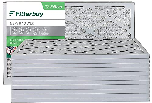 FILTERBUY 16X30X1 에어 필터 MERV 8 PLEATED HVAC AC 용광로 필터 (12 팩 은색)