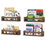 Wallniture Utah Floating Shelves for Kids Room Decor, Wood Wall Shelves, Nursery Bookshelf Set of 4 (Burnt Wash Brown)