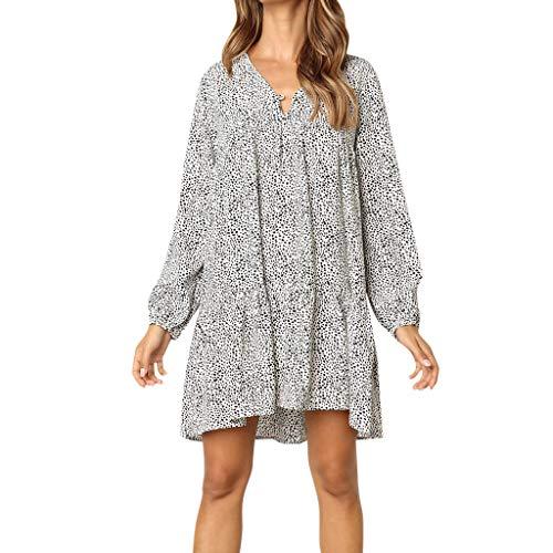 ITISME Damen Strandkleid Bohemian Lang Sommerkleid Boho Kleider Maxikleid Plus Size V Neck Print Langarm Party Maxi Kleid