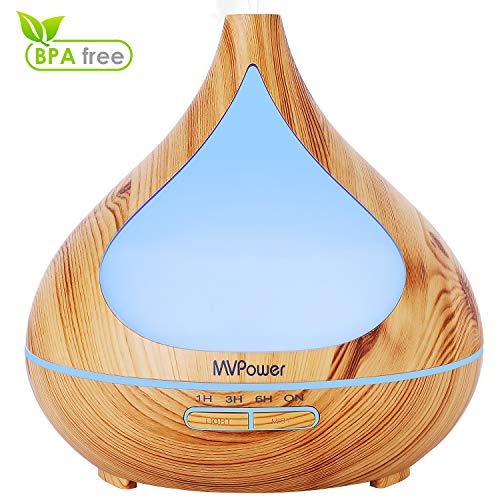 MVPower Aroma Diffuser 400mL, 7-Farben LED Ultraschall Luftbefeuchter mit 4 Timer mehr als 30ml/h Feuchtigkeitsabgabe Humidifier Aromatherapie Diffusor Wasserlos AUTO-OFF BPA-Free für Haus Büro Yoga