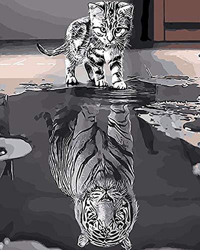 Cartoon Tier Poster Katze Spiegelung ist wie ein Wandbild eines Tigers Drucke auf Leinwand Malerei Druck Bilder Familie Kinderzimmer Kunst rahmenlose dekorative Malerei Z26 60x90cm