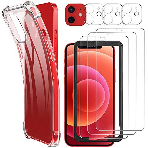 Luibor [7 in 1] Vetro Temperato Compatibile con iPhone 12 + Cover + Pellicola Fotocamera,[9H] [Strumento di Installazione Facile] [HD Chiaro][Protezione Completa]