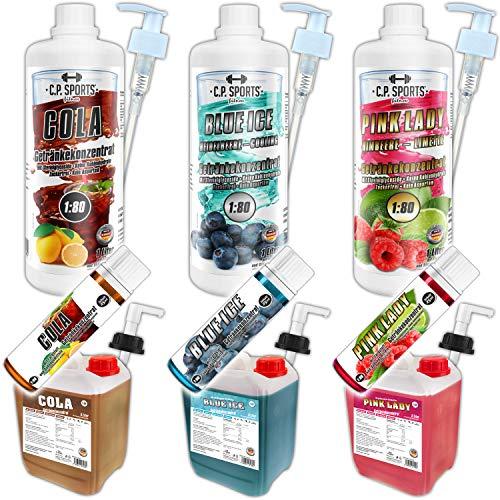 C.P. Sports - Concentrato per bevande, 1 l, 5 l, 25 ml, mix di test 1:80, privo di calorie, zucchero, senza aspartami, vitamine, concentrato, sciroppo per bevande sportive, 5 litri, rosa Lady