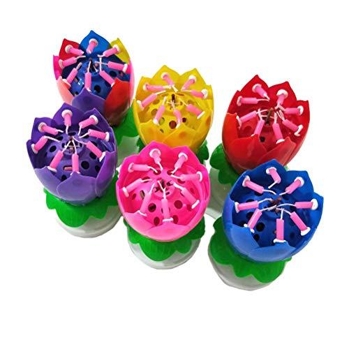 Uonlytech Candele di Compleanno a LED, Doppio Strato Candela di Compleanno di Loto con Musica Rotante, Candele Torta di Compleanno per la Festa di Compleanno (1pcs, Colore Casuale)