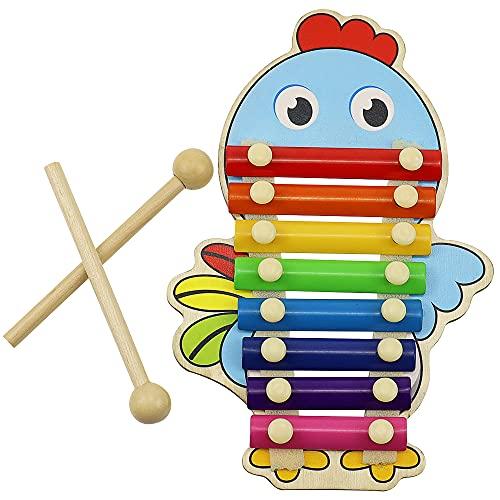 YPLonon Xilófono para Niños - Xilófono Juguete Instrumento Musical con 2 Mazos de Madera Juguete Musical para Niños Xilófono Infantil Afinado Regalo para Infantiles