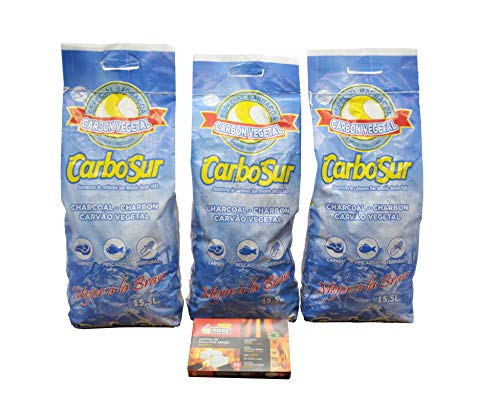 Carbón Vegetal Especial Barbacoas + pastillas de encendido rápido, practico y limpio 3 Bolsas de 3,1 kg und. carbón Duradero, Resistente y Alto Poder calorífico para barbacoas y cocinas