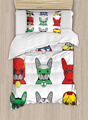 Ambesonne Superhero Duvet Cover Set, Bulldog Superheroes Fun Cartoon Puppies in Disguise Costume Dogs with Print, Decorative 2 Piece Bedding Set with 1 Pillow Sham, Twin Size, White Grey