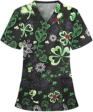 Nurse Tops for Women Womens St Patrick s Day Four Clover Print Short Sleeve V Neck Pockets Tops product image