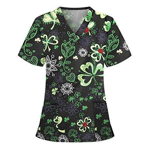 Women Medical_Scrub_Tops Working Uniform T-Shirt Stretch Print Short Sleeve V-Neck Holiday Blouse Tops with Two Pockets