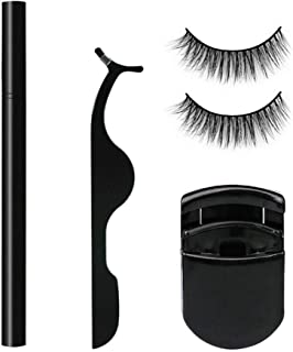 2 Pairs Magic False Eyelashes Artificial Eyelashes Curler Liquid Eyeliner Pencil 1