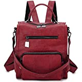 Women Backpack Purse, PU Leather Mini Backpack Fashion Shoulder Bag for Ladies Three Ways to Carry (Red)