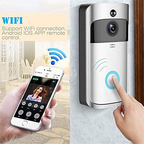 FJROnline Videoportero InaláMbrico CáMara De Seguridad Inteligente Timbre De La Puerta Soporte De Llamada Bidireccional WiFi En El Hogar para iOS Y Android (White)
