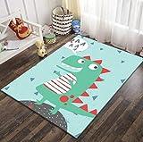 QNYH Alfombrilla Antideslizante para Sala de Juegos con patrón de Dinosaurio Lindo, Alfombra de decoración de la habitación de los niños con impresión 3D de Dibujos Animados 80cmx150cm