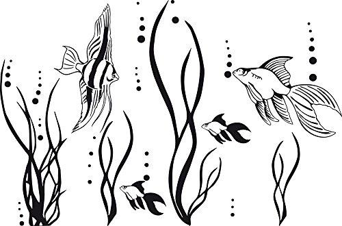 GRAZDesign Wandtattoo Fische im Ozean Aquarium Badezimmer-Aufkleber für Fliesen/Wände/Spiegel WC/Toilette (46x30cm / 070 schwarz)
