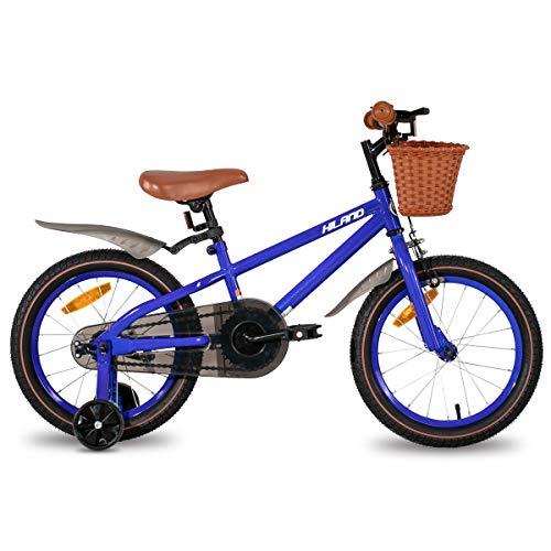 HILAND ins Star Vélo pour enfant 16 pouces pour fille 4-7 ans avec stabilisateurs, frein à main et rétropédalage bleu