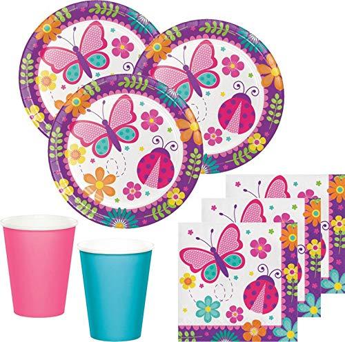 48 Teile Party Deko Set Schmetterlinge im Garten für 16 Personen Rosa Blau