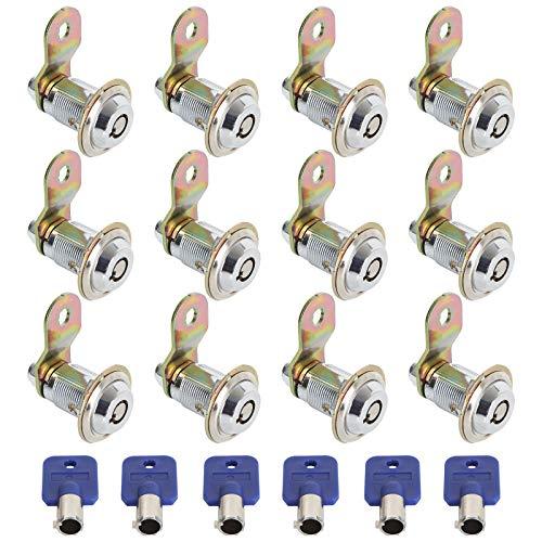 12 Pack Cam Locks Keyed Alike with 6 Keys