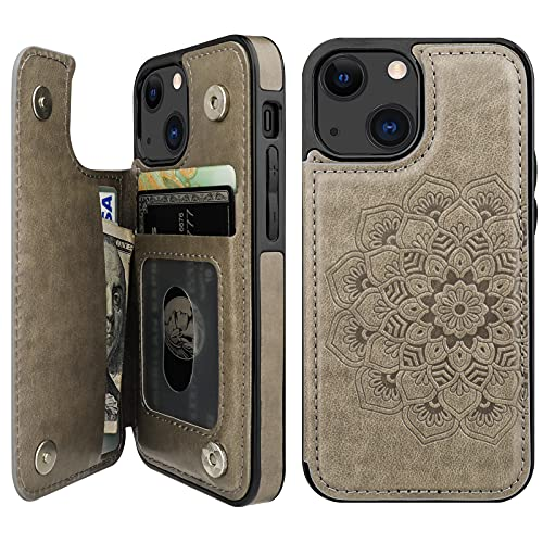Vaburs Compatible with iPhone 13 Mini Case Wallet with Card Holder, Embossed Mandala PatternFlower PU Leather Double Buttons Flip...