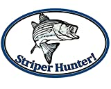 Magnet 3x5 inch Oval Striper Hunter Sticker -Decal Fish Fishing Striped bass Rod Fisher Magnetic Magnet Vinyl Sticker