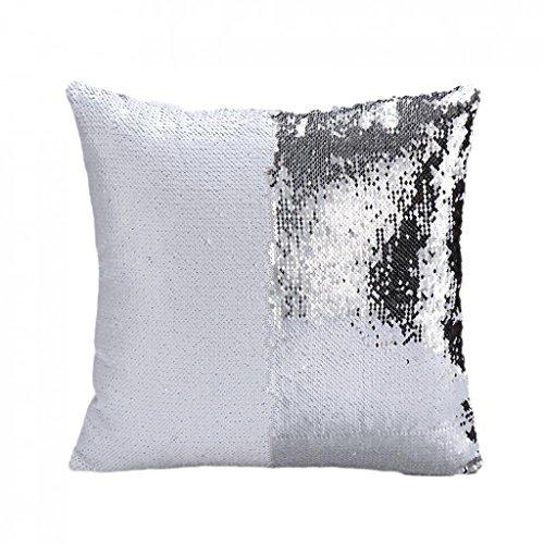 Federa per cuscino, reversibile, con paillettes, di raso, per decorazione di letto e divano 40_x_40_cm bianco