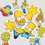Los Simpsons dibujos animados linda maleta portátil teléfono móvil guitarra monopatín pegatinas impermeables 10 hojas