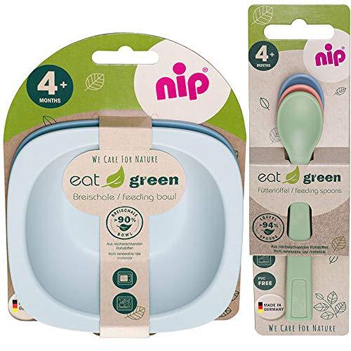 NIP öko bio Geschirrset BOYS ab 4. Monat, 2 Breischale + 3 Eat Green öko bio Babylöffel, Melamin frei, BPA frei, Spülmaschinenfest, geeignet für die Mikrowelle, made in Germany
