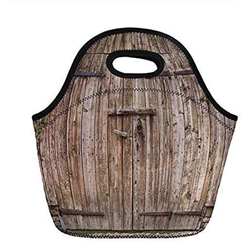 Rustikales, geschlossenes Garagentor aus alter Eiche mit Stahlscharnieren Vintage Typical Cottage Doorway Image, Tortilla, Für Kinder Erw. Thermisch isolierte Tragetaschen