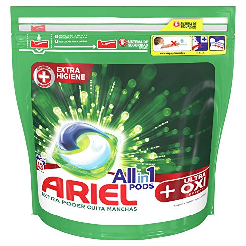 Ariel Todo En Uno Pods Con Efecto De Eliminación De Manchas OXI Detergente En Cápsulas 43Pods, 43Lavados, Perfecto Para Lavar A Baja Temperatura, Perfume Duradero