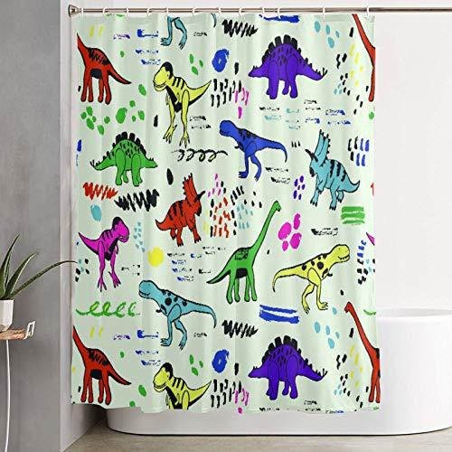VINISATH Duschvorhang,Grafisches Farbvektormuster der lustigen Dinosaurier,wasserdichter Badvorhang mit 12 Haken Duschvorhangringen 180x180cm