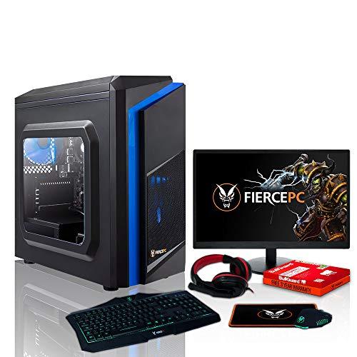 Fierce Berserker PC Gamer - 4.2GHz Hex-Core AMD Ryzen 5 3600, 2TB Disco Duro, 16GB de 3000MHz, NVIDIA GeForce GTX 1050 Ti 4GB, Teclado (UK/QWERTY), Raton, Monitor de 24 Pulgadas, Auriculares 991328