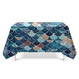 YDyun Mantel Encerado Lavable Mantel Antimanchas Mantel a Prueba de Polvo para Interiores y Exteriores Impresión de Textura de Escamas de Pescado