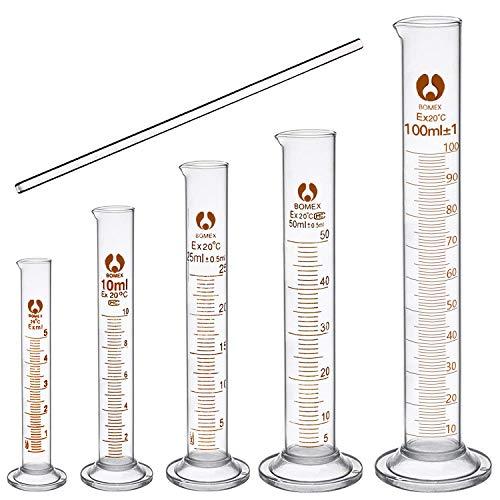 cococity Glas Meßzylinder Set Graduiertecococity Glas Meßzylinder Set Graduierten Glasmesszylinder Messung Werkzeuge Laborzylinder mit Glasstab 5ml 10ml 25ml 50ml 100ml