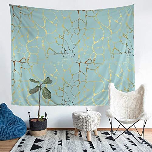 Tapiz de pared de mármol azul dorado para niños y niñas y mujeres, decoración abstracta de lujo para colgar en la pared, arte abstracto, arte de pared para dormitorio, sala de estar, 152 x 223 cm