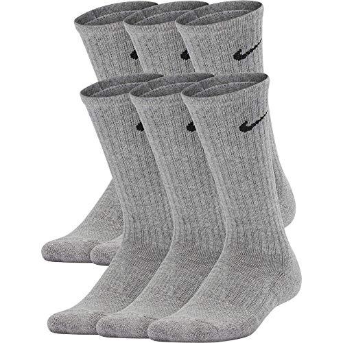 Nike Kids' Performance Cushioned Crew Training Socks (6 Pair), Girls & Boys' Socks with Cushioned Comfort & Dri-FIT Technology, Dark Grey Heather/Black, M