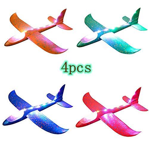 Zhen+ Flugzeug Gleiter, 1 | 2 | 4 Stück Styroporflieger Flugzeug, Kinder Flugzeug Spielzeug Outdoor Wurf Segelflugzeug Werfen Fliegen Modell für Kindergeburtstag, Spiele, Preise (Mehrfarbig)