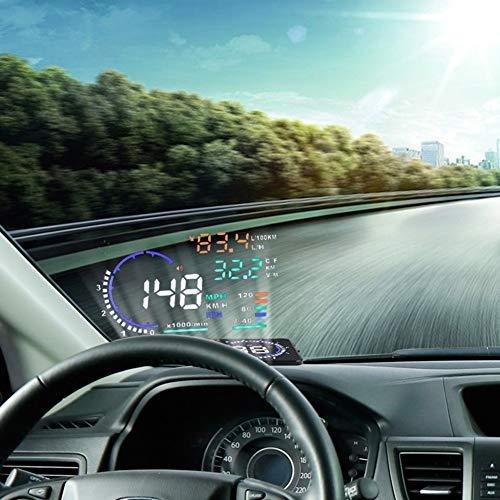 VGEBY 5.5'' HUD Head Up Display Multi-Color Windshield Screen Projector Vehicle Speed, Overspeed Alarm, Display Km/h MPH, OBDII/EUOBD Interface Plug